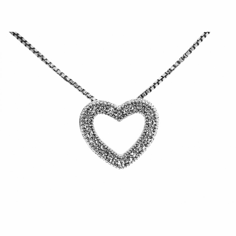 CZ Open Heart Necklace in Sterling Silver, Adjustable 16
