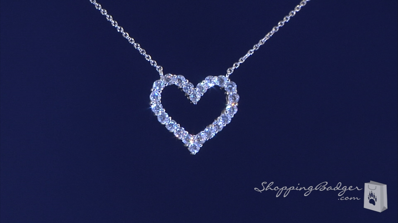 Cz open heart necklace in sterling silver adjustable 16 18 free cz open heart necklace in sterling silver adjustable 16 18 mozeypictures Gallery