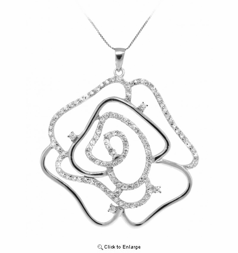 "CZ Open Rose Pendant Necklace in Sterling Silver, Adjustable 16""-18"""