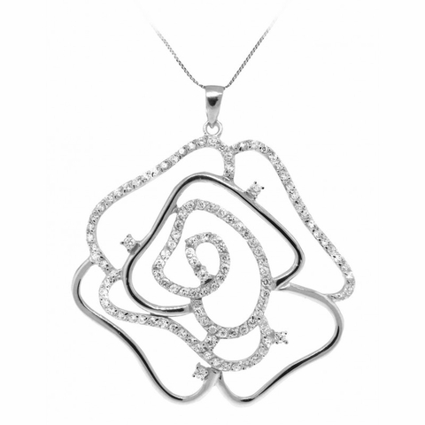 CZ Open Rose Pendant Necklace in Sterling Silver, Adjustable 16