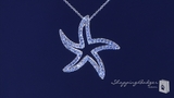 "CZ Open Starfish Necklace in Sterling Silver, Adjustable 16""-18"""