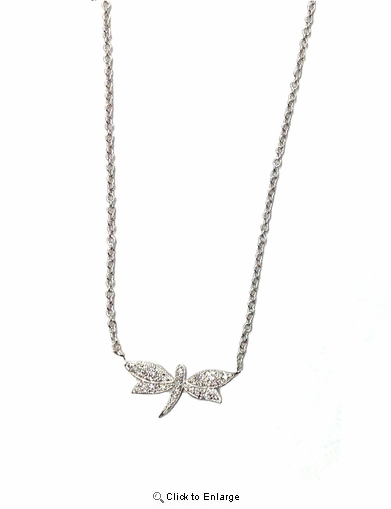 CZ Pave Dragonfly Pendant Necklace in Sterling Silver