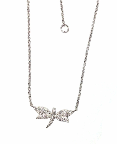 CZ Pave Dragonfly Pendant Necklace in Sterling Silver, Adjustable 17
