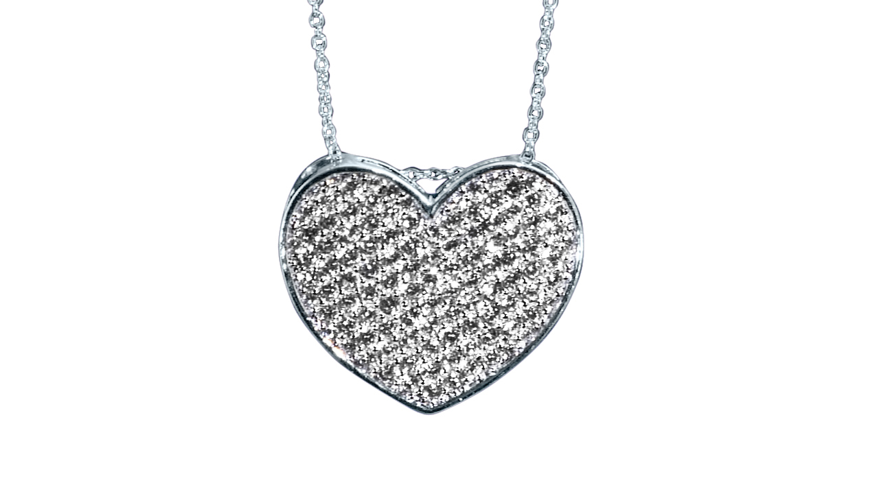 Cz Pave Heart Necklace In Sterling Silver Adjustable 16