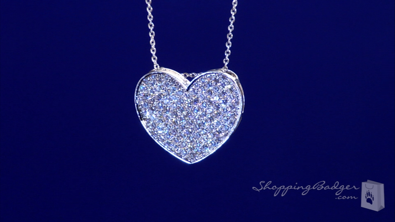 Cz pave heart necklace in sterling silver adjustable 16 18 free cz pave heart necklace in sterling silver adjustable 16 18 mozeypictures Gallery
