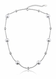 CZ and Pearl by the Yard Silver Necklace