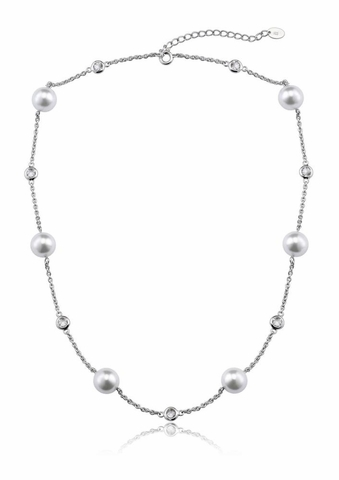 CZ Pearl by the Yard Silver Necklace