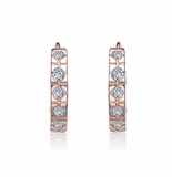 CZ Rose Gold Plated Sterling Silver Small Round Hoop Earrings