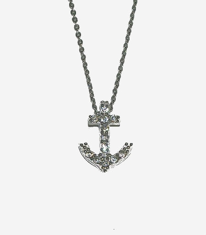 CZ Silver Anchor Pendant Necklace