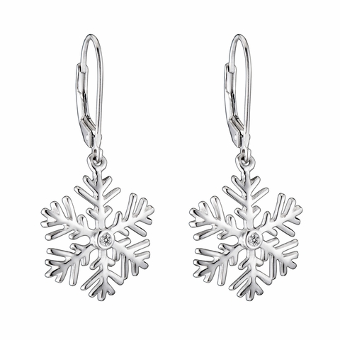 CZ Silver Drop Snowflake Earrings
