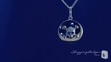 "CZ Skull & Crossbones Sterling Silver Disk Pendant Necklace, Adjustable 16""-18"""