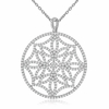 """CZ Snowflake Pendant Necklace in Sterling Silver, Adjustable 16""""-18"""""""