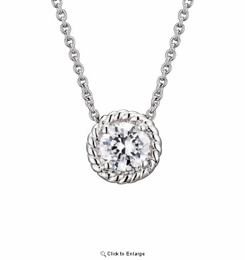 CZ Solitaire Silver Necklace with Cable Setting