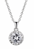 CZ Solitaire Surrounded by CZs in Silver Pendant
