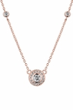 CZ Solitaire with Rose Gold Plated Silver Setting and a CZ by the Yard Chain