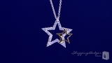 "CZ Star Necklace with Tiny Gold Star in Sterling Silver, Adjustable 16""-18"""