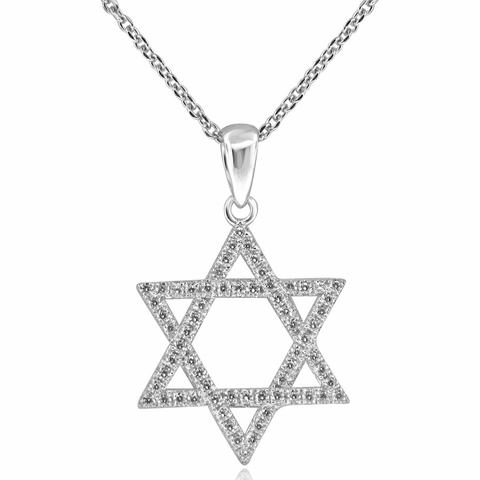 CZ Star of David Pendant Necklace in Sterling Silver, Adjustable 16