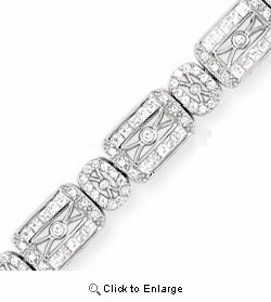 CZ Sterling Silver Art Deco Design Bracelet