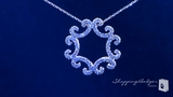 "CZ Swirl Pendant Necklace in Sterling Silver, Adjustable 16""-18"""