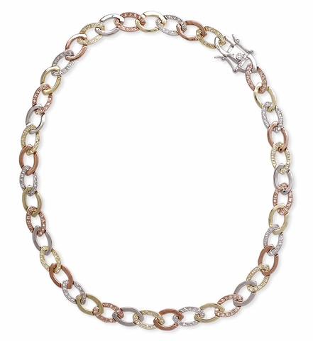 CZ Tri-Color Link 16 Inch Necklace