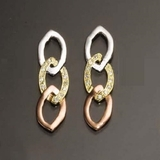 CZ Tri-Color Link Earrings