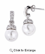 CZ White Freshwater Pearl Drop Earrings