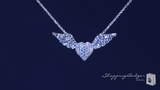 "CZ Winged Heart Necklace in Sterling Silver, Adjustable 16""-18"""