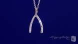 "CZ Wishbone Necklace in Sterling Silver, Adjustable 16""-18"""