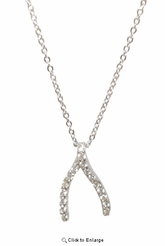 CZ Wishbone Pendant Necklace in Sterling Silver, 16""