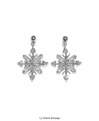 Dangling Sterling Silver Snowflake Earring