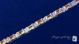 Diamond CZ & Champagne CZ Tennis Bracelet in Sterling Silver, 7.5""