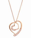 Double CZ Silver Heart Pendant in Rose Gold