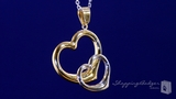 Double Open Heart Necklace in Sterling Silver & 14K Yellow Gold