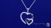 "Double Open Heart Necklace with CZs in Sterling Silver, Adjustable 16""-18"""