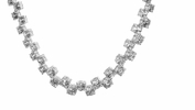 Fancy Four Prong Round Cut Graduated CZ Tennis Necklace in Sterling Silver, 16""