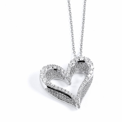 Fancy Micro Pave CZ Open Heart Pendant Necklace, 16
