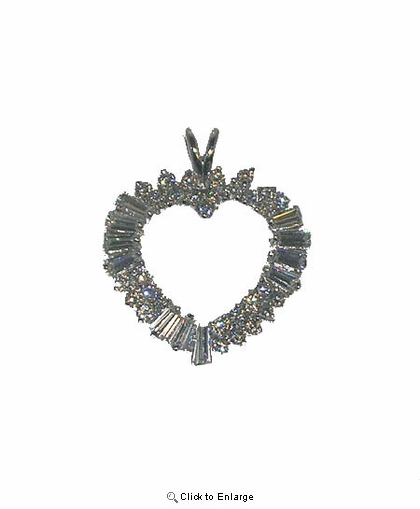 Fancy Silver Heart and Round CZ and Baguettes