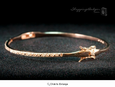 Fine Rose Gold-Plated Silver Bangle with CZs