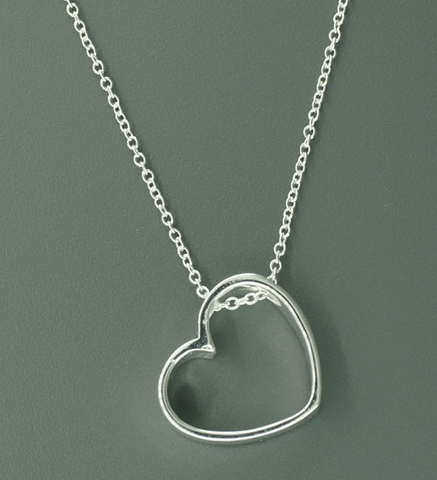 Floating Silver Heart Pendant Necklace
