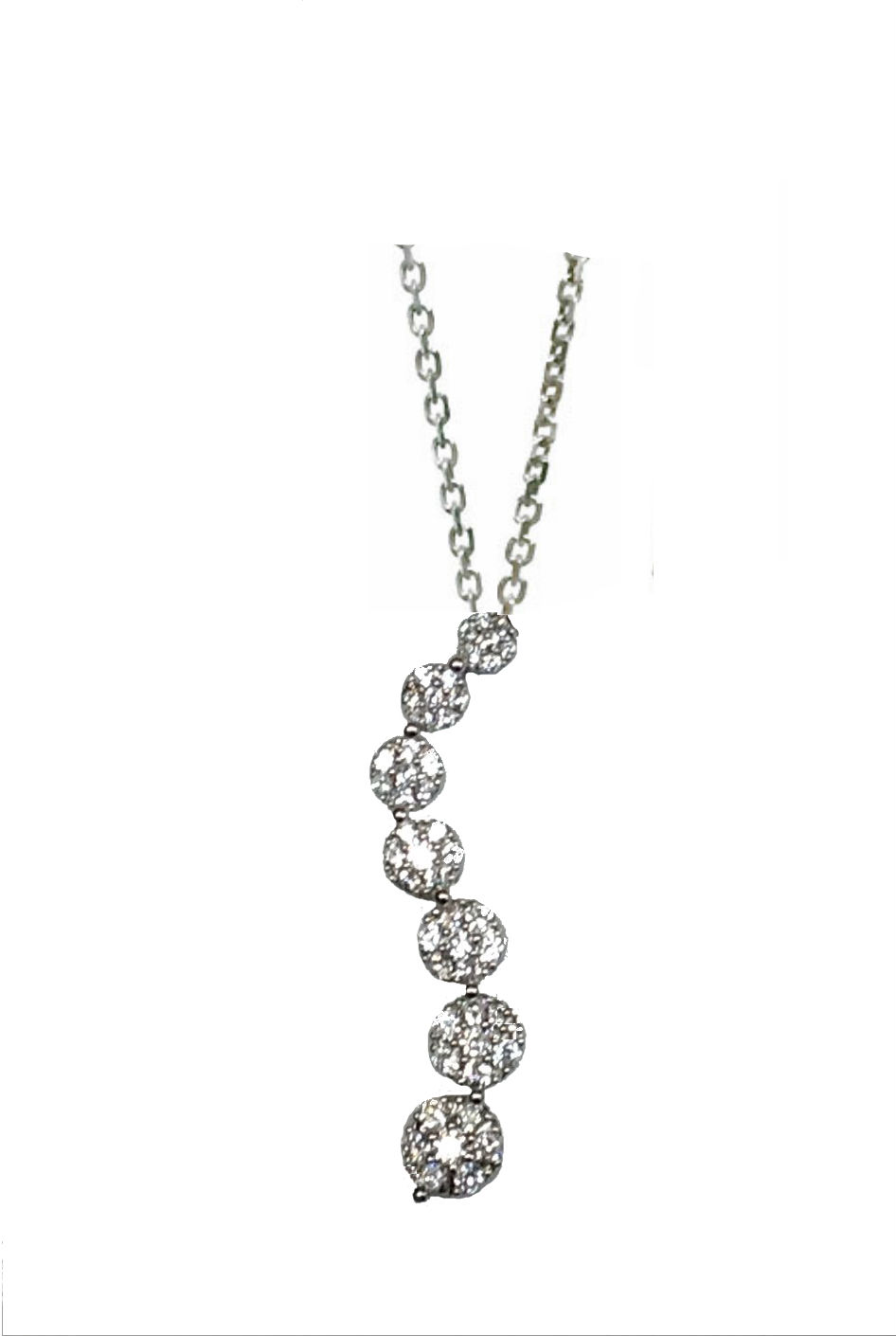 Flower cluster cz journey pendant necklace in sterling silver cluster cz journey pendant necklace in sterling silver adjustable 16 18 aloadofball Images