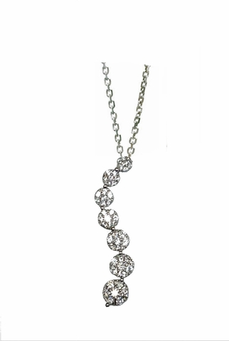 Flower Cluster CZ Journey Pendant Necklace in Sterling Silver, Adjustable 16
