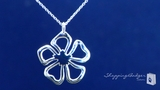 """Flower Pendant Necklace in Sterling Silver, 16"""""""