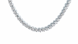 """Four Prong 4mm Round CZ Classic Tennis Necklace in Sterling Silver, 16"""""""