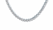 Four Prong 4mm Round CZ Classic Tennis Necklace in Sterling Silver, 16""