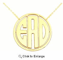 Framed Block Three Initial Silver Monogram Necklace, 1.25 inch