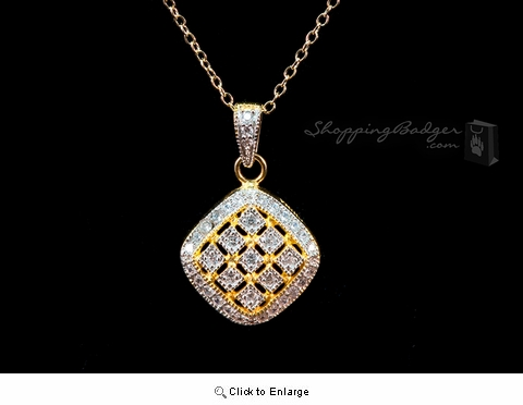 Gold-Plated Silver Square Pendant with CZs