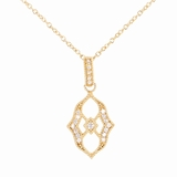 Gold Vermeil Filigree Cubic Zirconia Necklace