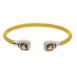 Montreaux Gold Vermeil Stainless Steel and Silver Cuff Bangle with Square Smokey Quartz and Diamond