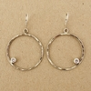 Hammered Silver Circle and CZ Earrings