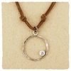 Hammered Sterling Circle Cord Necklace